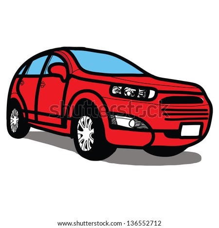 The abstract of Car SUV - Hand drawn - stock vector