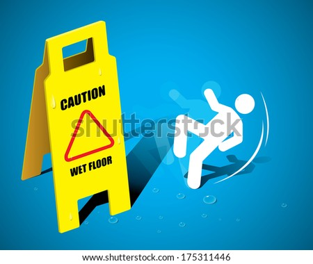 THE ABSTRACT OF CAUTION SIGN WET FLOOR VECTOR - stock vector
