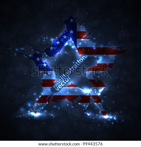 The abstract star with american flag, creative vector illustration eps10 - stock vector