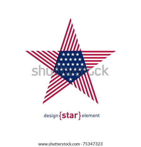 The Abstract vector design element star with american flag - stock vector