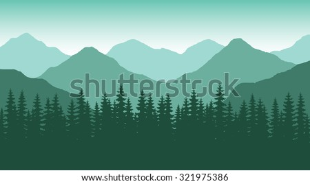 The abstract vector image reforestation in the foreground and different levels of the mountains in the background. Mountain landscape. Forest in the mountains. Untouched nature. Majestic mountains. - stock vector