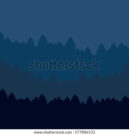 The abstract vector image reforestation in the foreground and different levels of the mountains in the background. Mountain landscape. Forest in the mountains. Untouched nature.  - stock vector