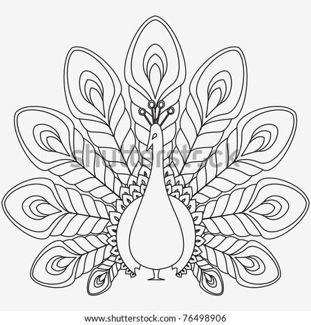 Peacock abstract drawing