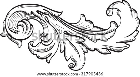 The acanthus scroll nice leaf is on white - stock vector