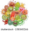 The accumulation of bacteria. Vector illustration. Isolated on white background - stock vector