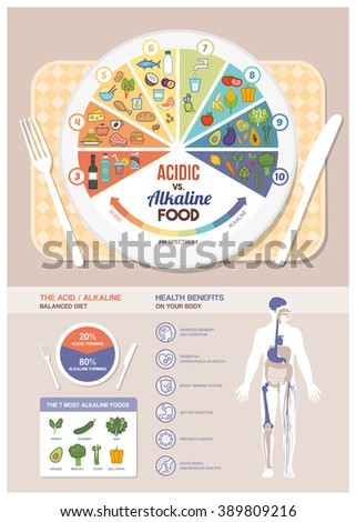 The acidic alkaline diet food chart infographics with food icons on a ph scale, table with dish and human body with health benefits - stock vector