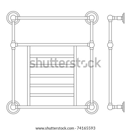The adaptation for heating and dryer in a bath, toilet room - stock vector