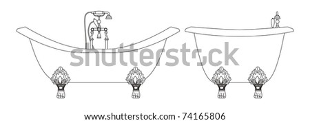 The adaptation for washing in a bath, toilet room - stock vector