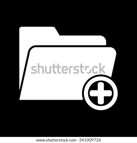 The add to folder icon. Data and directory, archive, storage symbol. Flat Vector illustration - stock vector