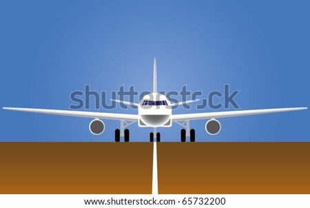 The airplane on a runway - stock vector