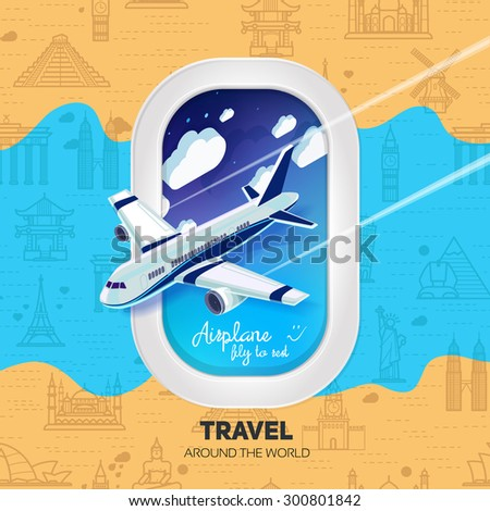The airplane with a view from the window of the airplane.Seamless background with a pattern tourist attractions icons. Topic Travel and Tourism landmarks from around the world.  - stock vector