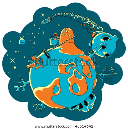 The alien-monster clears the planet of a firm household waste. Illustration about problems of pollution of space - stock vector