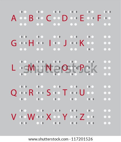 the alphabet for blind, Braille - stock vector