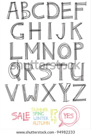 The Alphabet from my big font collection - stock vector