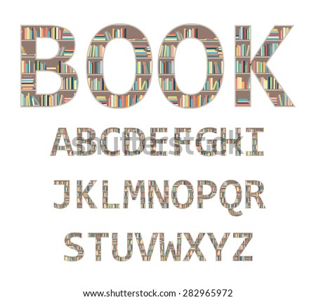 The alphabet in the form of shelves with books. - stock vector