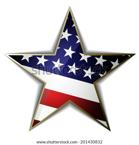 The American flag as star shaped symbol. Vector, EPS10 - stock vector