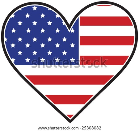 The American flag in the shape of a heart