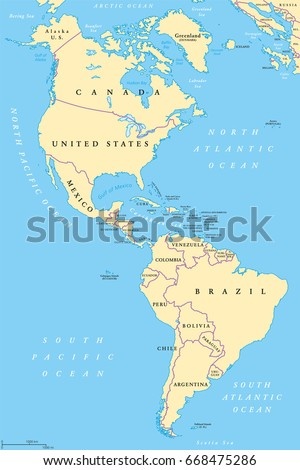 The Americas North And South America Political Map With Countries And International Borders Of