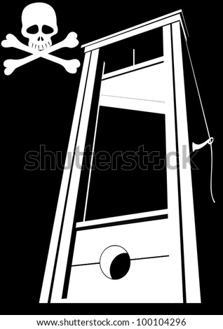 The ancient device for the death penalty. Black and white illustration. - stock vector