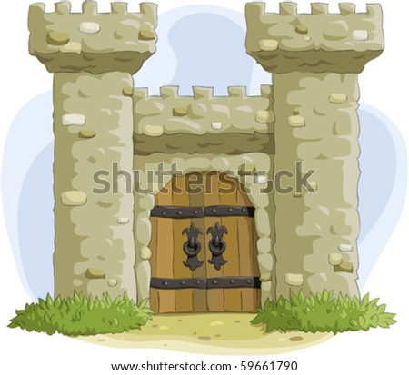The ancient fortress with a gate - stock vector