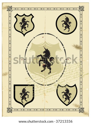 The ancient monogram heraldic horse unicorn. - stock vector