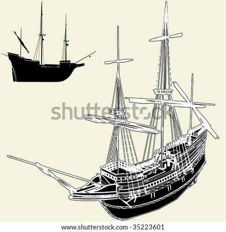 The Ancient Ship Vector 04 - stock vector