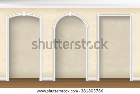 The arches of different shapes in the wall. Architectural element of interior decoration. Vector realistic illustration. - stock vector