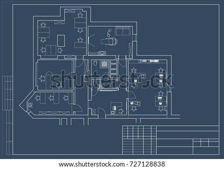 the office floor plan. The Architectural Design Of Office, Floor Plan, Blueprint. Vector Office Plan