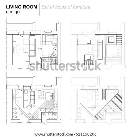 Furniture Design Plan set top view interior icon design stock vector 542323648