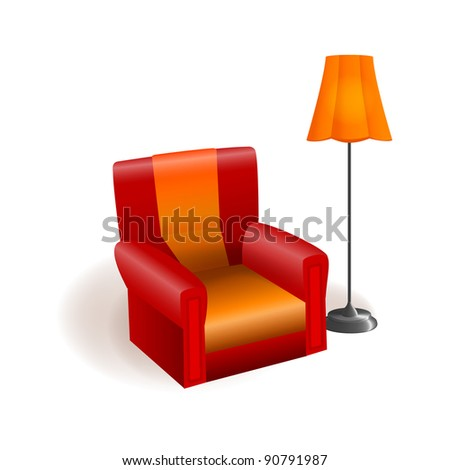 The armchair and floor lamp vector