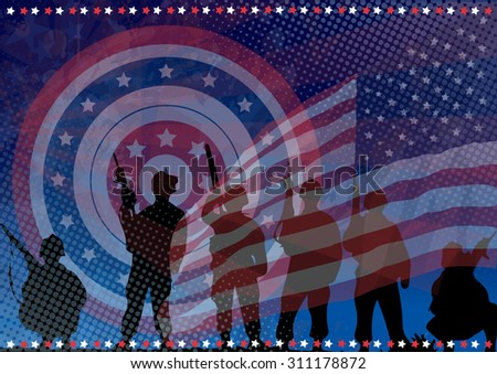 The armed defenders of America - stock vector