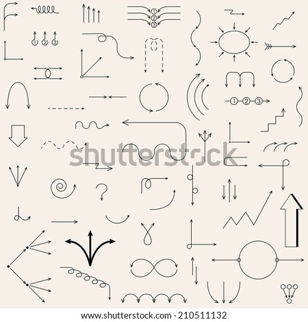 The arrows drawn in the vector. Fully editable vector elements. - stock vector