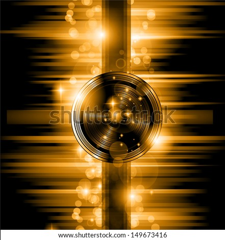 The Art of Disco Flyer - Stunning Speakers shape and a lot of stars and ray lights. - stock vector