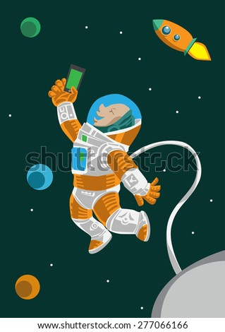 The astronaut taking his selfie picture in the space during his mission