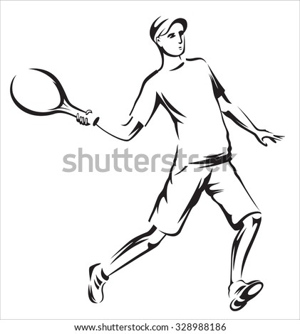 The athlete playing tennis with racket and ball