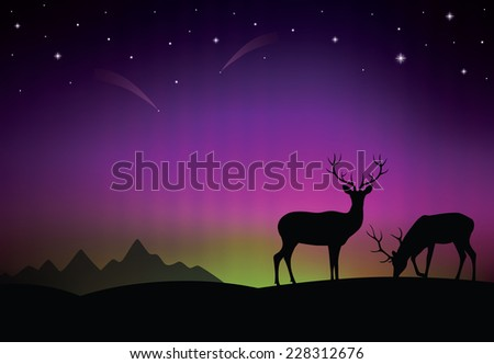 The aurora with deer in the foreground. - stock vector