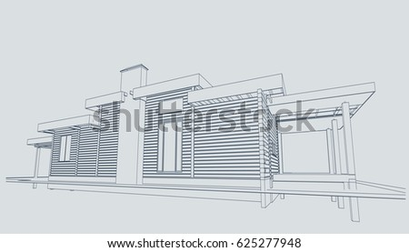 Authors project blueprint wooden house glued stock vector 625277948 the authors project blueprint of a wooden house from glued profiled beam with the rafters malvernweather Gallery