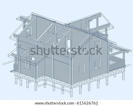 Authors project blueprint wooden house glued stock vector 615626762 the authors project blueprint of a wooden house from glued profiled beam with the transparent malvernweather Gallery