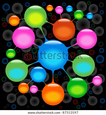 the background of the abstract molecules .microbe background - stock vector