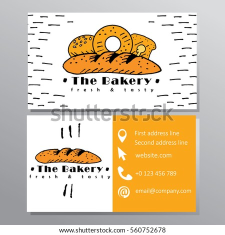 Bakery business card french baguette stock vector royalty free the bakery business card with french baguette colourmoves