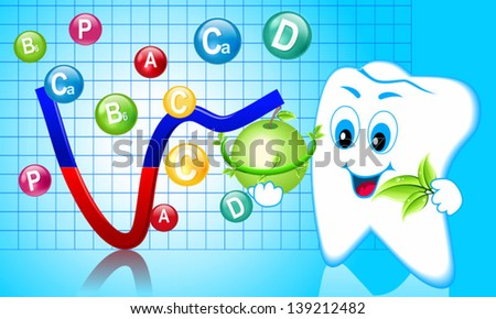 The balance in the oral cavity, vitamins - stock vector