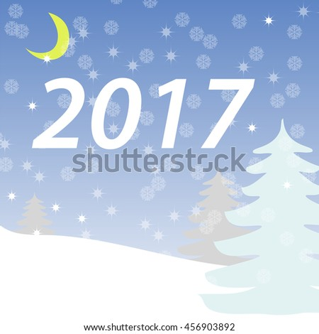 The banner winter. Greeting card winter forest. New year. Snowflakes, night sky vector illustration. Background winter landscape - stock vector