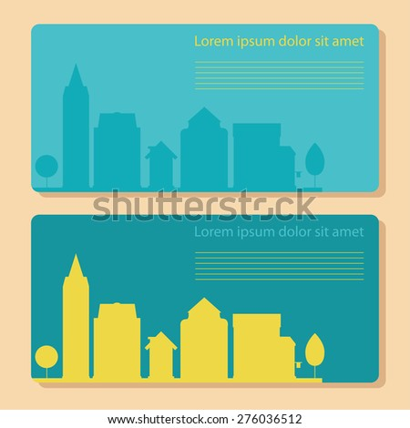 The banner with the silhouette of the city. With space for text - stock vector