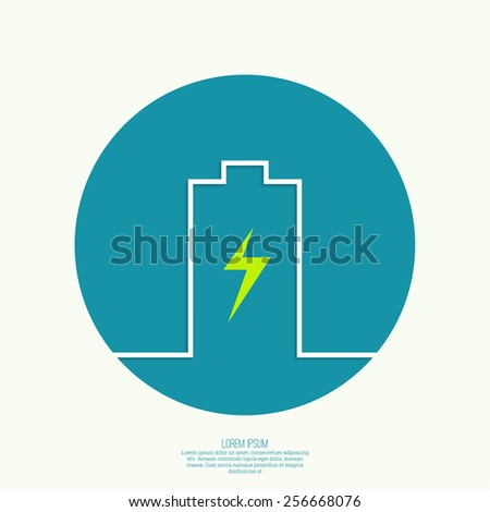 The battery icon on the charge. minimal. Outline. for mobile applications - stock vector