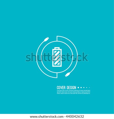 Battery Icon Full Charge Usb Cable Stock Photo Photo Vector