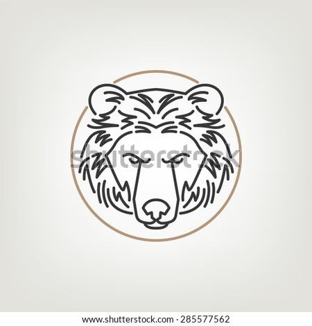 The Bear Head Outline Logo Icon Design. The bear head logo icon design in mono line style on the light background. - stock vector