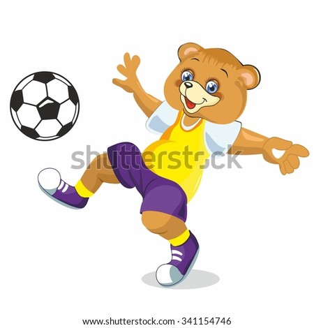 the bear playing ball, colorful sneakers, a yellow shirt, ball games, plays ball, little bear, cute bear, illustration for book - stock vector