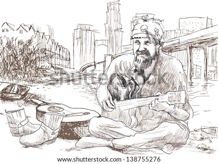 The bearded hippie man playing the guitar - sitting on the beach U.S. Gulf. /// A hand drawn illustration converted into vector (5 layers). - stock vector