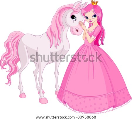 The Beautiful princess and her cute horse - stock vector