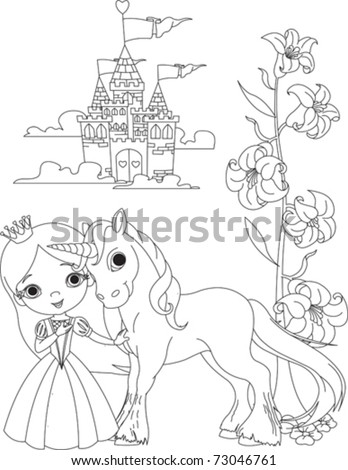 The Beautiful princess and her cute unicorn coloring page - stock vector
